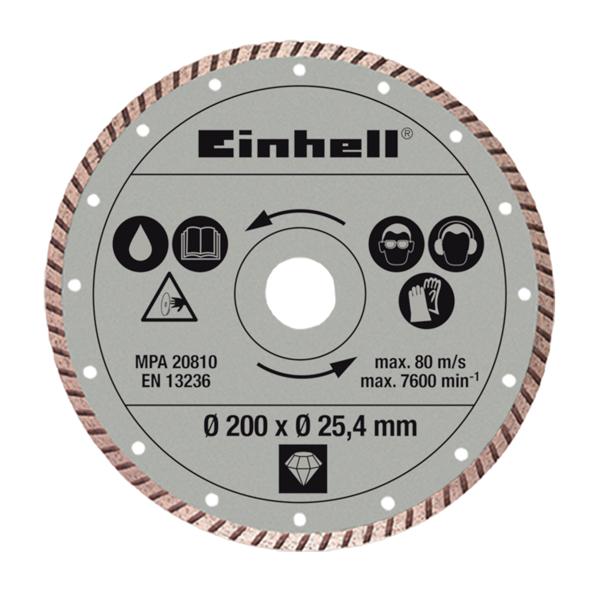Круг отрезной 200x25.4x1.6 мм, алмазный, по плитке, Einhell
