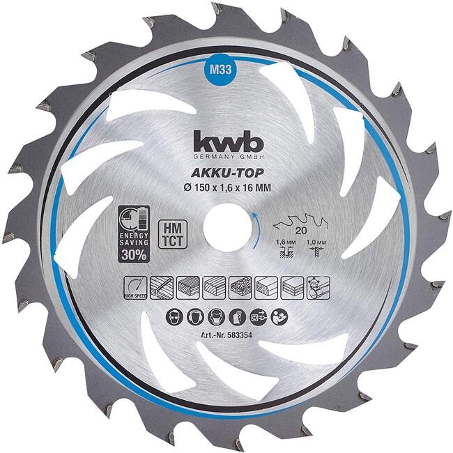 Пильный диск 150x16x1,6 мм, 20 зубов, для дерева, KWB