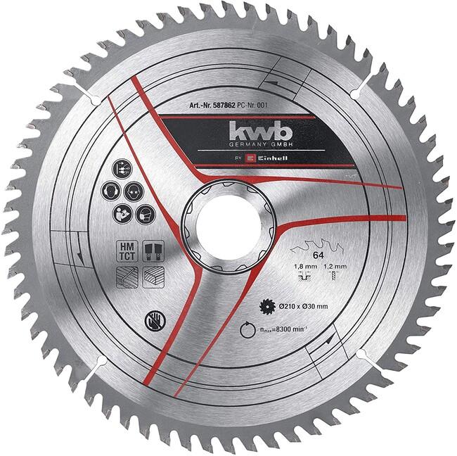 Пильный диск 210x30x1,8 мм, 64 зуба, для дерева, KWB