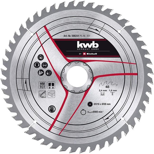 Пильный диск 216x30x2,4 мм, 48 зубов, для дерева, KWB