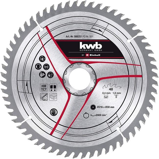 Пильный диск 216x30x2,4 мм, 60 зубов, для дерева, KWB