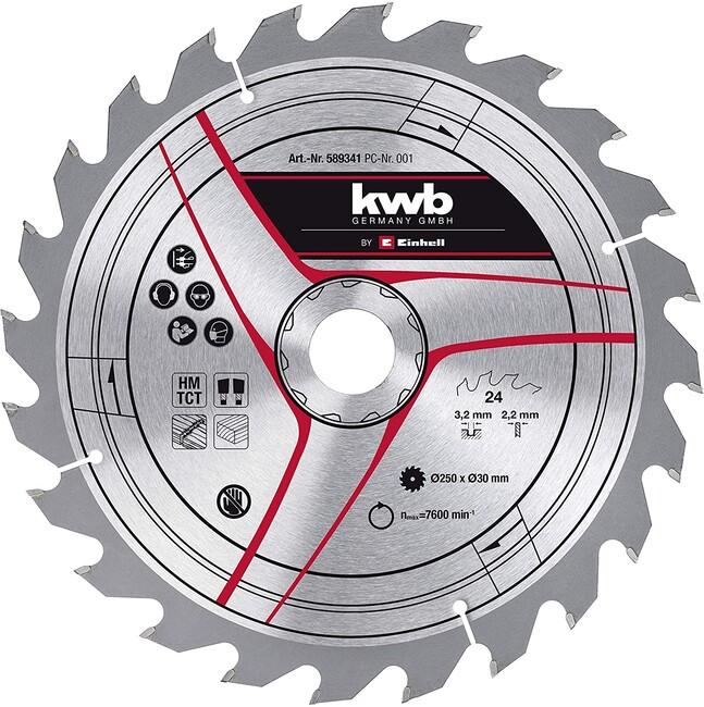 Пильный диск 250x30x3,2 мм, 24 зуба, по дереву, KWB