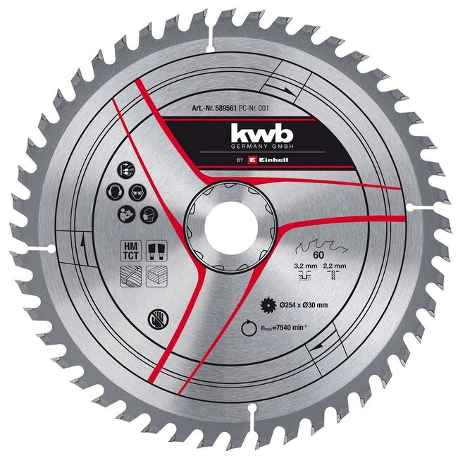 Пильный диск 250x30x1,8 мм, 42 зуба, по дереву, KWB