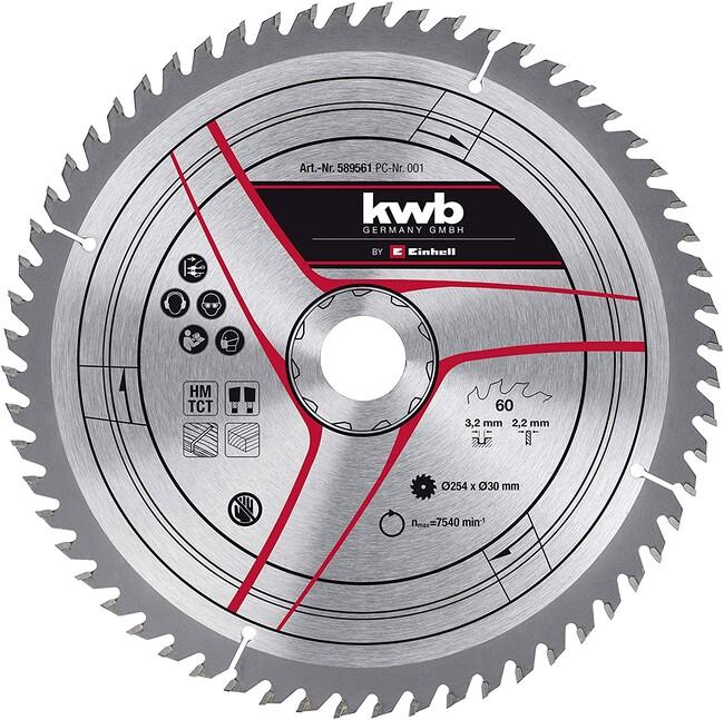 Пильный диск 254x30x3,2 мм, 60 зубов, по дереву, KWB
