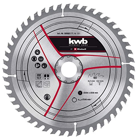 Пильный диск 250x30x3.2 мм по дереву, 48 зубов, KWB
